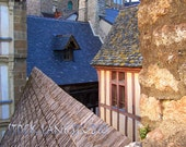 Mont Saint-Michel French Landscape wall decor, 11x14 Normandy wood mounted travel photo Mont St Michel rooftops architecture photograph
