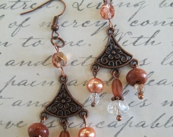Laila - Goldstone  and Czech glass earrings
