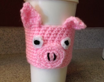 Little Pink Pig Crocheted Coffee Cup Cozy