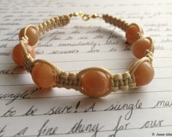Peach Moonstone and Cream Cord Macrame Bracelet with Gold Plated Sterling Silver Clasp