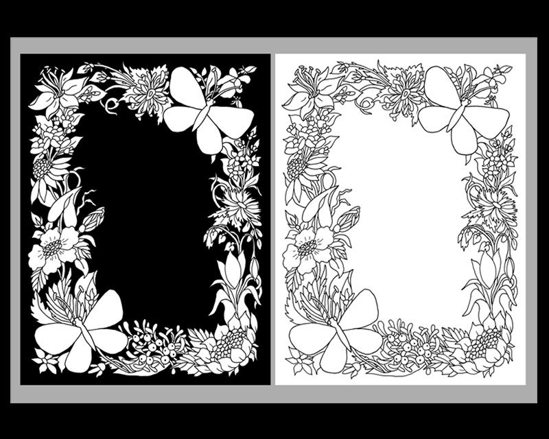 Butterfly wildflower frame adult coloring by for Wildflower coloring pages