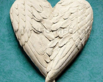 Angel Wings HEART wall sculpture statue plaque Neo-Mfg