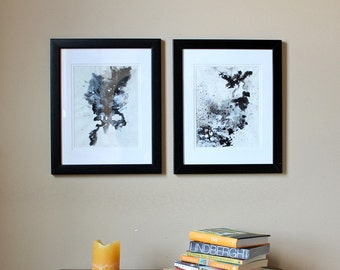 ORIGINAL Abstract Black&White Ink Painting (SET)