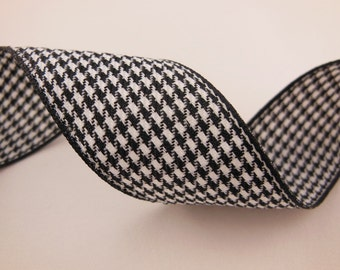 Black and White Houndstooth Ribbon 1''