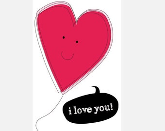 "Poster download ""I love you"" pink illustration love heart decoration home decor nursery cute in love heart"