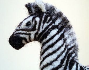 Made to order - Needle Felted Zebra zoo animal soft sculpture
