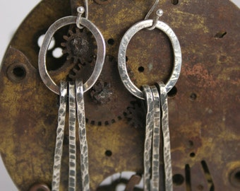 Silver  Earrings - Hammered - Handmade