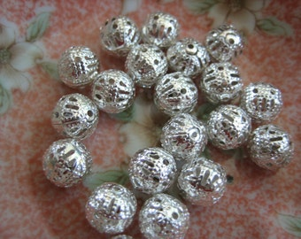 40 Silver Plt Filigree Ball Spacers. 8mm. Delicate, Sparkling, Lightweight, Open, Lacy Silver Ball Beads. USPS Ship Rates from Oregon