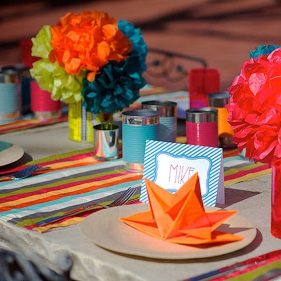 Fiesta Party Decorations Striped Table By Theentertainingshop