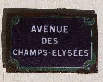 Dollhouse Tin Paris Street Sign - Avenue des Champs Elysees