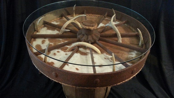 Whiskey Barrel Wagon Wheel Glass Top Table With Cowhide And