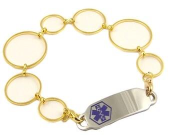 Gold Links   Medical Bracelet Custom Engraved Medical ID Tag