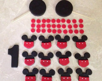 2 Tier Edible Fondant Mickey Mouse Inspired Cake Topper