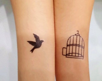 popular items for bird fake tattoo on etsy. Black Bedroom Furniture Sets. Home Design Ideas