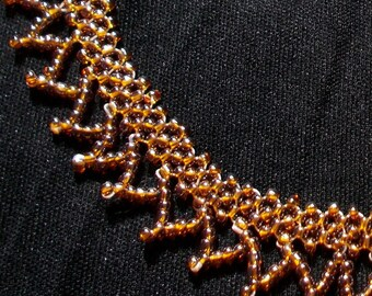 Golden Amber Beaded Choker Necklace - Seed Bead Jewellery - Golden Amber Elegant Collar Choker