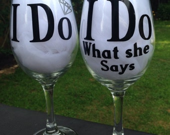 Bride and Groom I Do Wine Glasses wedding humor