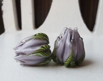 Lavender Flower Bud PAIR by Sabrina Koebel Handmade Lampwork Beads
