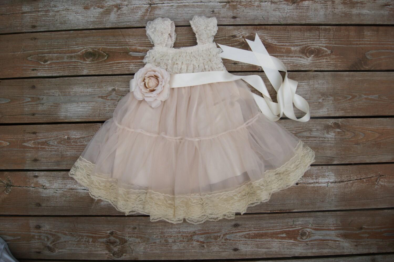 Lace flower girl dress Rustic flowergirl dress Shabby chic