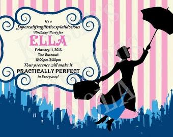 Mary Poppins Printable Invitation - Mary Poppins birthday