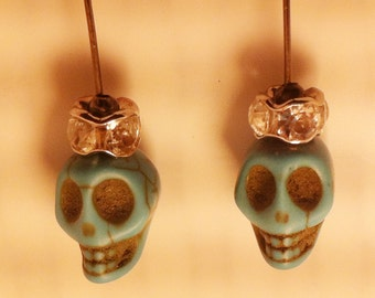 Day of the Dead Turquoise Skulls Wearing Crystal Crown Earrings