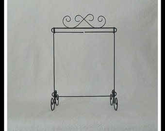 Scroll Table Stand ~ Dark Copper, Charcoal Black, Gray or White Wire ~ 12 x 14 Inches ~ Made in the USA
