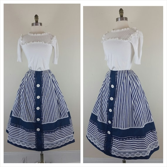 50s plus skirt swing navy blue and white stripes and lace