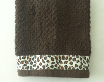 Chocolate Brown Terry Cloth Cotton Fingertip Towel with Leopard Grosgrain Ribbon, Animal Print Towel, Cheetah Print Towel, Hostess Gift