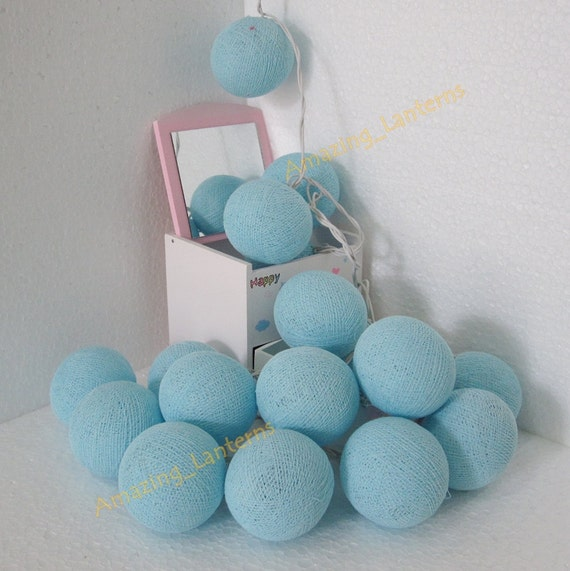 Blue String Lights For Bedroom : 35 Light Blue Cotton Ball String Fairy by Butterflies2Lanterns