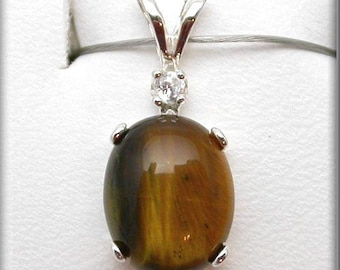 Natural Tiger Eye Pendant   Brown Tiger Eye Jewelry   4ct Accented Brown Tiger Eye Sterling Silver Pendant   tigerseye Cabochon Pendant
