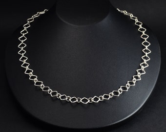 Square Links Sterling Silver Necklace
