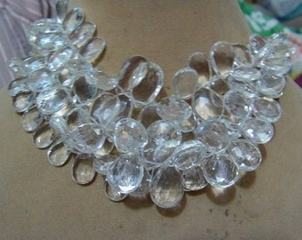 1 Strand  Clear quartz   Faceted Layout   beads  7''  45, grams