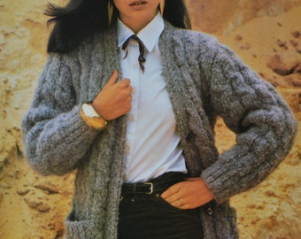 Vintage knitting pattern chunky cable cardigan jacket sizes 34 to 38 inches pdf download pattern only 1980s