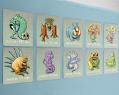 kids monster art, number wall cards, 8 x 10, baby geek, baby nerd, monster wall art, monster nursery
