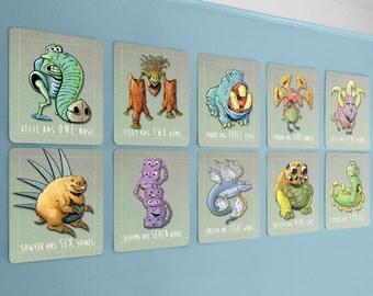 kids monster art, number wall cards, 8 x 10, baby geek, baby nerd, monster wall art, monster nursery