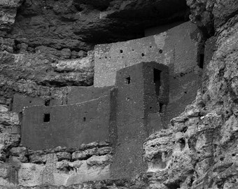 Southwest Photography, Cliff Dwelling, Pueblo, Montezuma's Castle, Arizona, Fine Art Black and White Photography, Home Decor, Wall Art