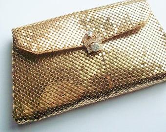 Vintage Gold Mesh Evening Bag with Rhinestone Embellishments