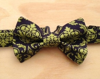 Navy and chartreuse damask bowtie