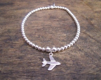 925 Sterling Silver Elasticated Bracelet with Aeroplane Charm