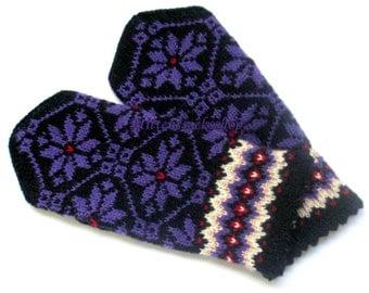 Purple Black Mittens Purple Black Gloves Hand Knitted Purple Wool Mittens Hand Knitted Wool Gloves Warm Mittens Patterned Latvian Mittens