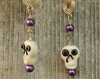 Dia De Los Muertos Skull Lampwork Earrings - Pearlized Glass Wire Wrapped Drop Earrings - White and Purple Dangle Earrings - USA Handmade