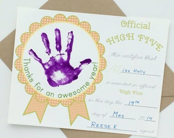 Teacher High Five Award Certificate Thank You Card in Yellow/Green INSTANT DOWNLOAD