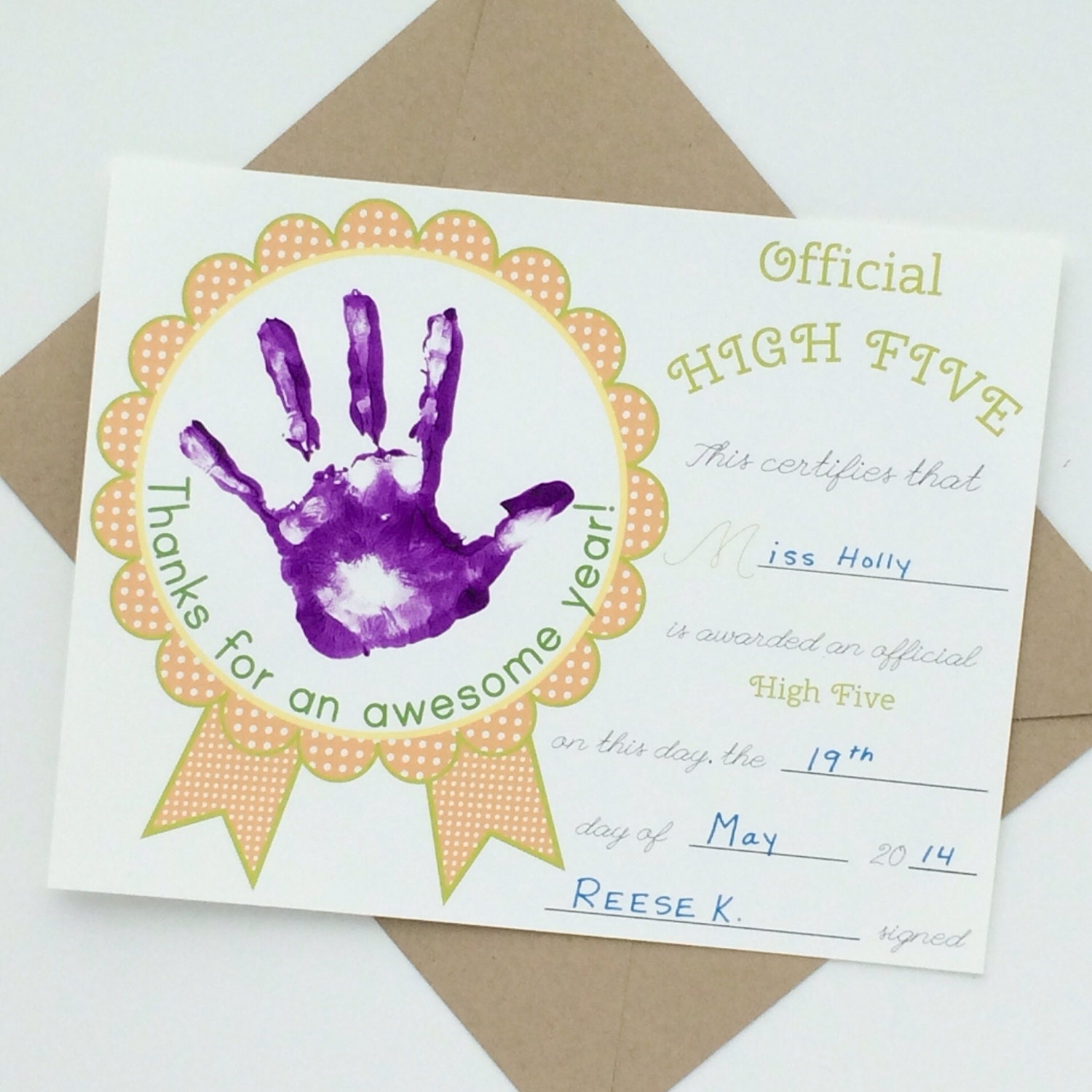 Teacher high five award certificate thank you card in zoom yelopaper Image collections