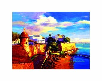 "20""x24"" Print of oil painting, Old San Juan , Puerto Rico,"