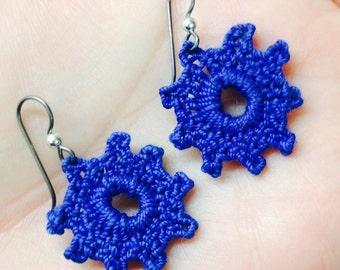 Burst of Blue Crochet Earrings