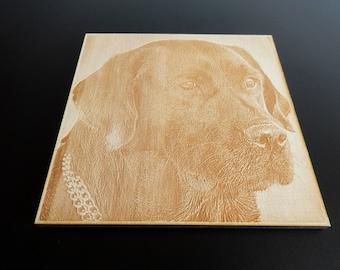 Photo engraving in wood