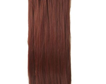 """22"""" Full Head Clip in Hair Extensions 8 pcs with 18 clips Plum Red Straight"""