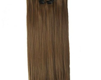 """22"""" Full Head Clip in Hair Extensions 8 pcs with 18 clips Chocolate brown Straight shade #8"""