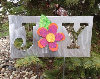 Metal Garden Art Yard Sign with Pink, Orange and Purple Flower Joy