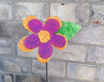 Metal Garden Art Flower Garden Stake Pink, Purple, Yellow and Orange Flower