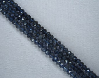 3mm Faceted Iolite Beads for Jewelry Making, Natural Gemstone Beads